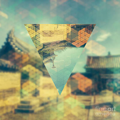 Nara Digital Art - Ancient Temple In Geometrics 1 by Beverly Claire Kaiya