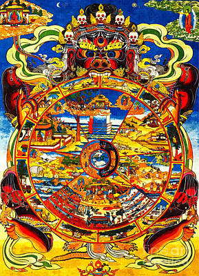 Ancient Tibetan Tangka Wheel Of Life Art Print