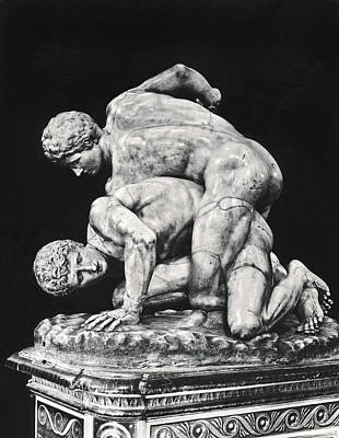 Ancient Wrestling Sculpture Art Print by Underwood Archives