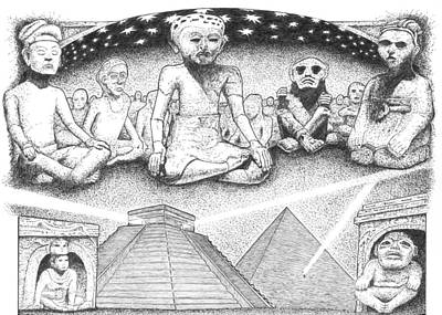 Graphic Novel Drawing - Ancients Above by Michael Paul Gavazzi