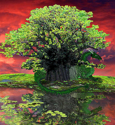Painting - Ancients Dragon And Baobab Tree by Michele Avanti
