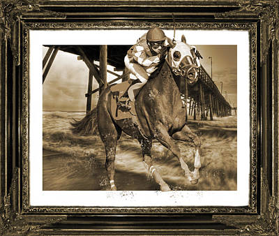 Race Horse Digital Art - And Away We Go by Betsy Knapp