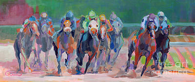 Equine Painting - And Down The Stretch They Com by Kimberly Santini
