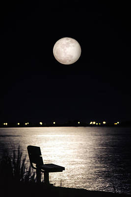 Art Print featuring the photograph And No One Was There - To See The Full Moon Over The Bay by Gary Heller