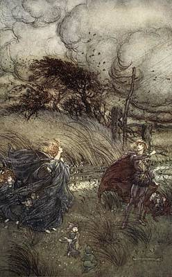 Fairy Drawing - And Now They Never Meet In Grove Or by Arthur Rackham