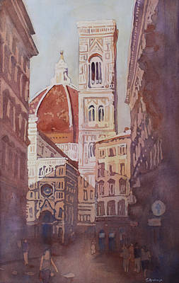 Italian Landscape Painting - And Suddenly The Duomo by Jenny Armitage