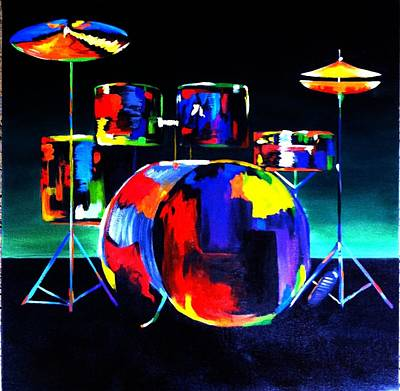 Drum Set Painting - And The Beat Goes On by Beth Smith