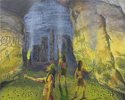 Post Apocalyptic Painting - And The Remains Of An Ancient And Primitive Civilization Were Found by Kerry Chavez