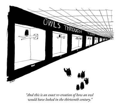 Owl Drawing - And This Is An Exact Re-creation Of How An Owl by Edward Steed