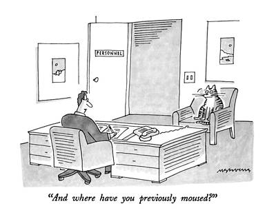 Interview Drawing - And Where Have You Previously Moused? by Mick Stevens
