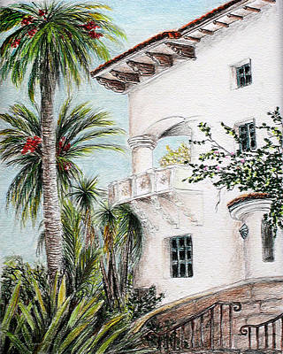 Drawing - Andalusian Fortress- Santa Barbara Courthouse Balcony by Danuta Bennett