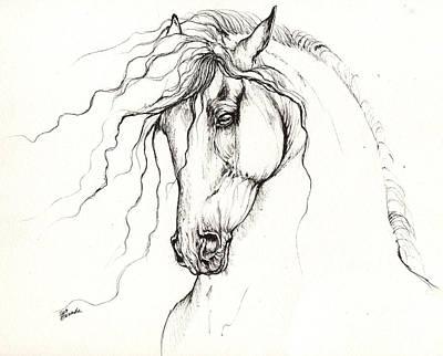 Horse Drawing - Andalusian Horse Drawing 04 11 2013 by Angel  Tarantella