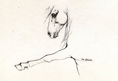 Horse Drawing - Andalusian Horse Portrait 2014 05 16 C by Angel  Tarantella