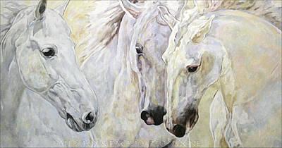 Painting - Andalusian Horses  by Jana Fox