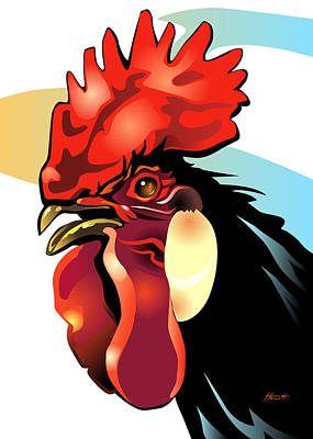 Andalusian Digital Art - Andalusian Rooster by Patricia Howitt