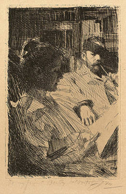 1860 Drawing - Anders Zorn, Reading La Lecture, Swedish by Quint Lox