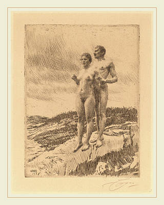 1860 Drawing - Anders Zorn, The Two, Swedish, 1860-1920 by Litz Collection