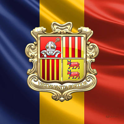 Digital Art - Andorra - Coat Of Arms Over Flag by Serge Averbukh