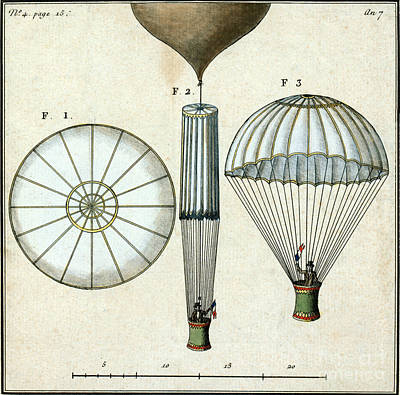 Photograph - Andre Jacques Garnerins Parachute 1797 by Science Source