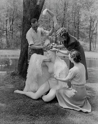 Andre-durst Photograph - Andre Durst And Two Women Assembling A Mannequin by Andre Durst