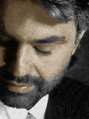 Andrea Bocelli And Vertical Print by Tony Rubino