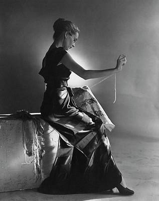 Studio Shot Photograph - Andrea Johnson Wearing A Striped Dress by Cecil Beaton