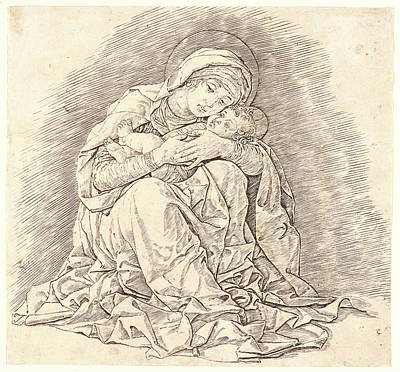 Drypoint Drawing - Andrea Mantegna Italian, Ca. 1431 - 1506. The Virgin by Litz Collection
