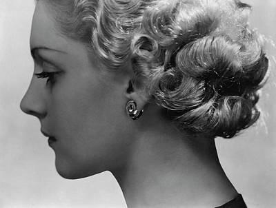 Photograph - Andree Lorain Wearing Rene Boivin Ear Clips by George Hoyningen-Huene
