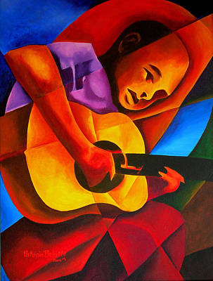 Acoustic Guitar Painting - Andres by Patricia Brintle