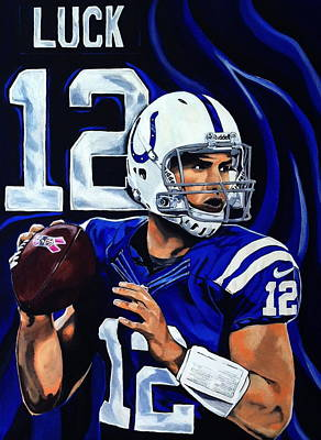 Tim Tebow Painting - Andrew Luck by Chris Eckley