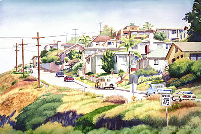 Old Cars Painting - Andrews Street Mission Hills by Mary Helmreich
