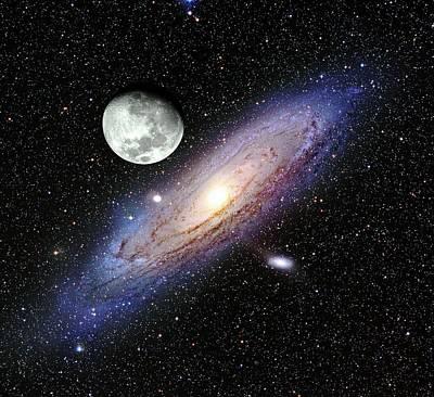 Andromeda Galaxy And Moon Art Print