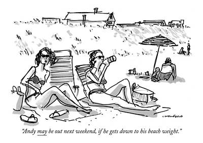 Hamptons Drawing - Andy May Be Out Next Weekend by Michael Crawford