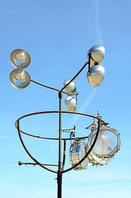 Anemometer Photograph - Anemometer And Wind Drums On A Roof by Chris Hellier