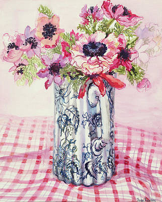 Checked Tablecloths Painting - Anemones In A Victorian Flowered Jug by Joan Thewsey