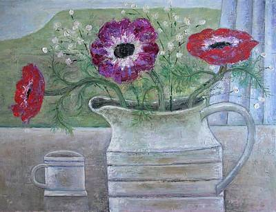Window Sill Photograph - Anemones In White Jug, 2013, Oil On Panel by Ruth Addinall