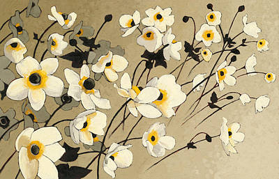 Anemones Japonaises Blancs Art Print by Shirley Novak