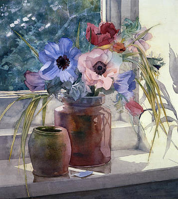 Windowsill Photograph - Anemones by Julia Rowntree
