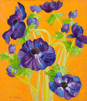 Springflowers Painting - Anemones On A Darkyellow Background by Ben Rikken