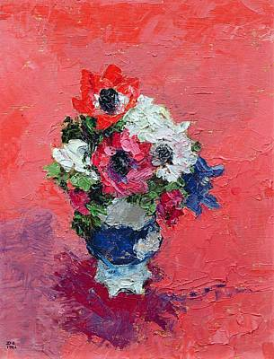 Anemones On A Red Ground Print by Diana Schofield