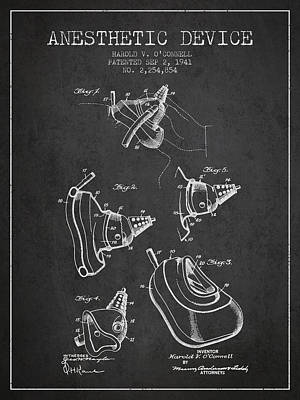 Anesthetic Device Patent From 1941 - Charcoal Art Print by Aged Pixel