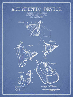 Anesthetic Device Patent From 1941 - Light Blue Art Print