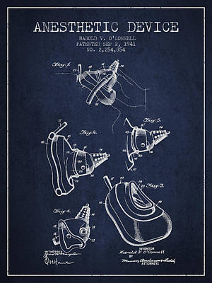 Anesthetic Device Patent From 1941 - Navy Blue Art Print