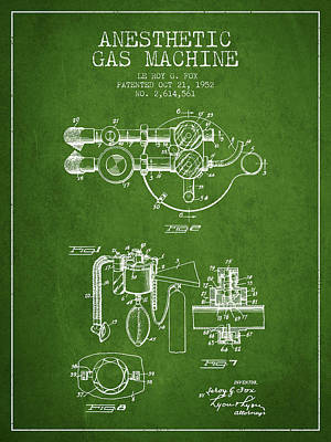 Anesthetic Gas Machine Patent From 1952 - Green Art Print by Aged Pixel