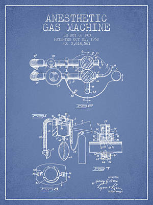 Anesthetic Gas Machine Patent From 1952 - Light Blue Art Print by Aged Pixel