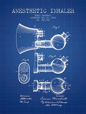 Anesthetic Inhaler Patent From 1903 - Blueprint Art Print