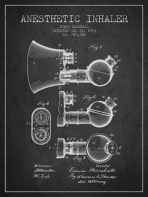 Anesthetic Inhaler Patent From 1903 - Charcoal Art Print