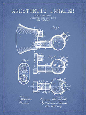Anesthetic Inhaler Patent From 1903 - Light Blue Art Print by Aged Pixel
