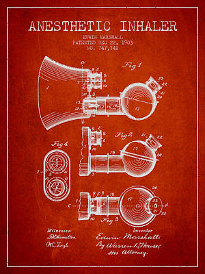Anesthetic Inhaler Patent From 1903 - Red Art Print by Aged Pixel