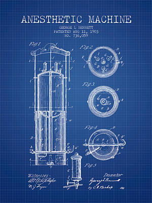 Anesthetic Machine Patent From 1903 - Blueprint Art Print by Aged Pixel
